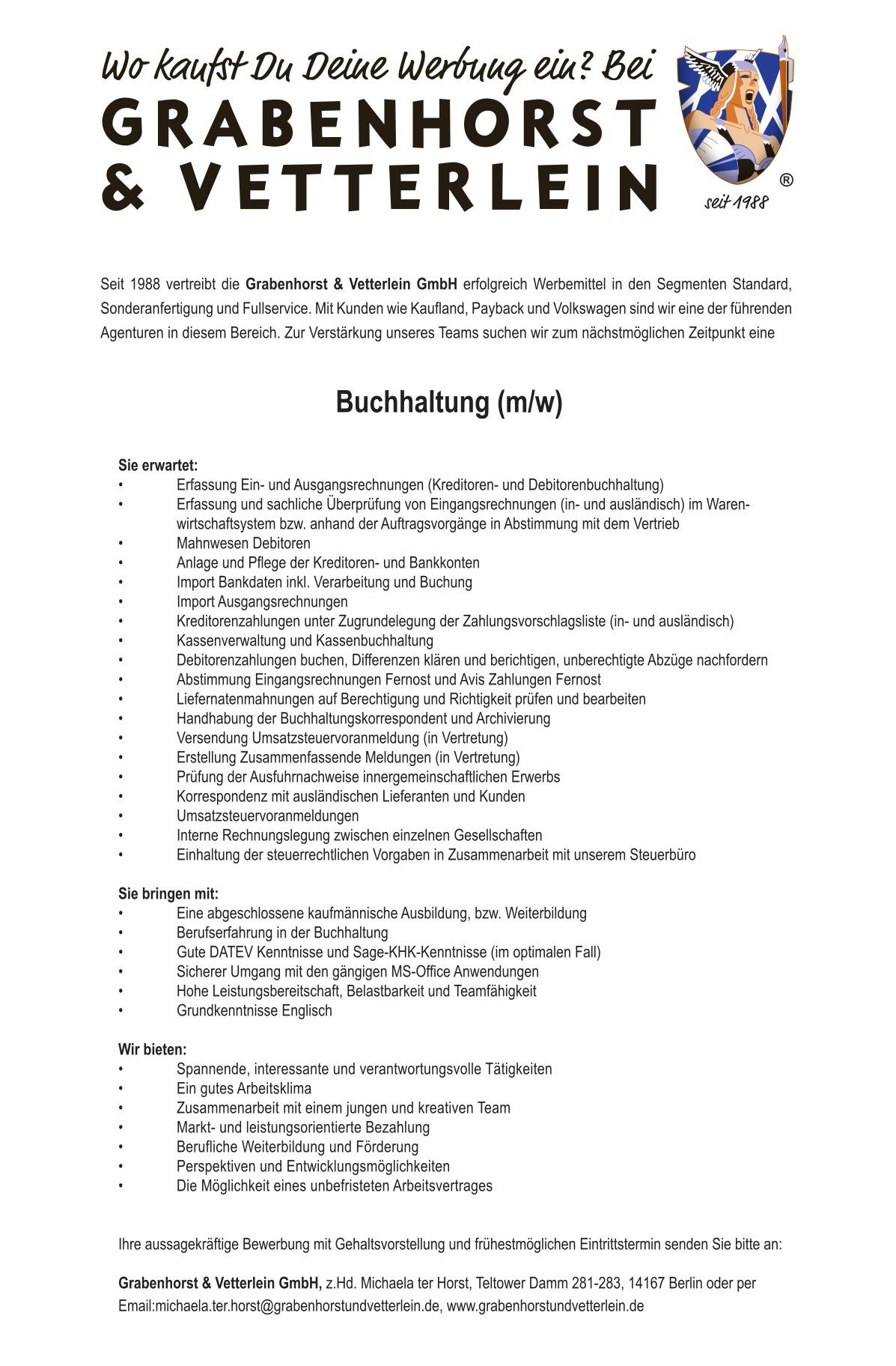 Jobangebot Buchhaltung Mw Grabenhorst Und Vetterlein